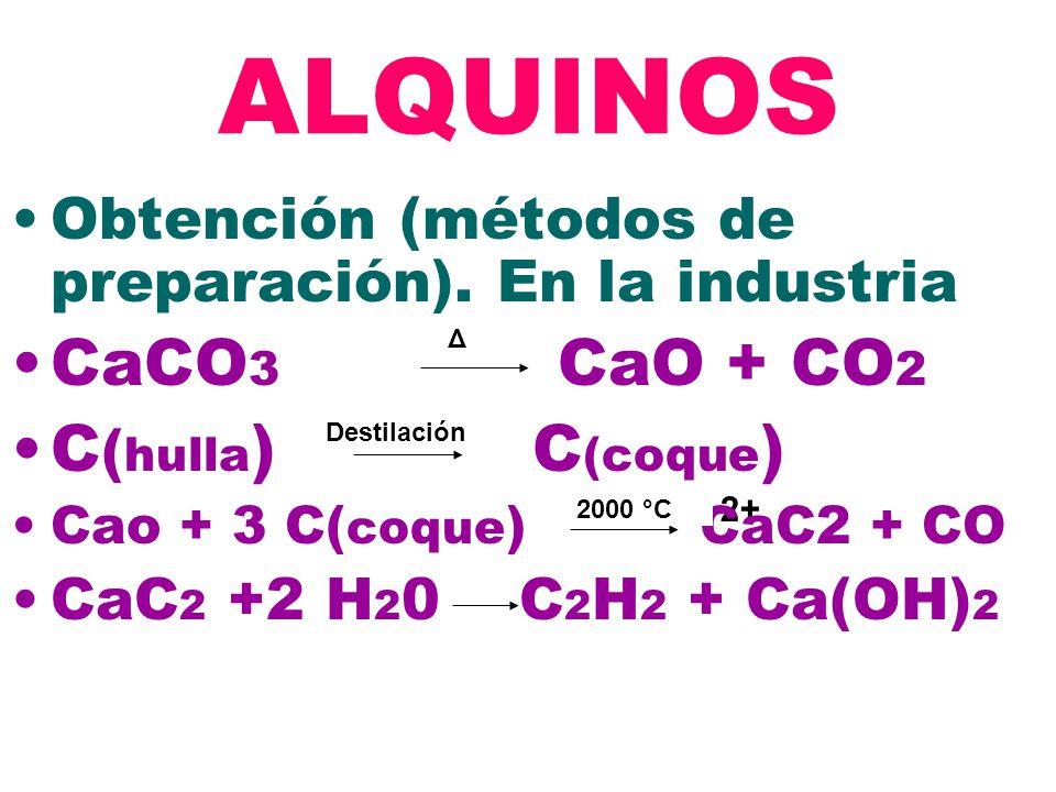 ALQUINOS CaCO3 CaO + CO2 C(hulla) C(coque)