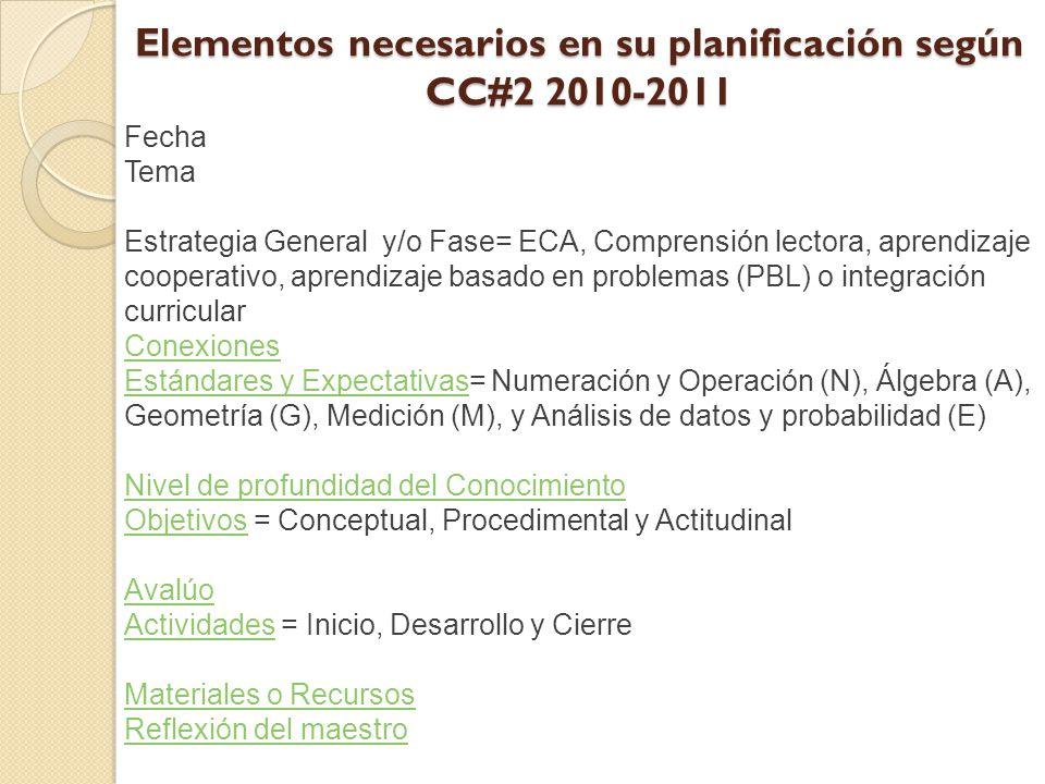 Elementos necesarios en su planificación según CC#2 2010-2011