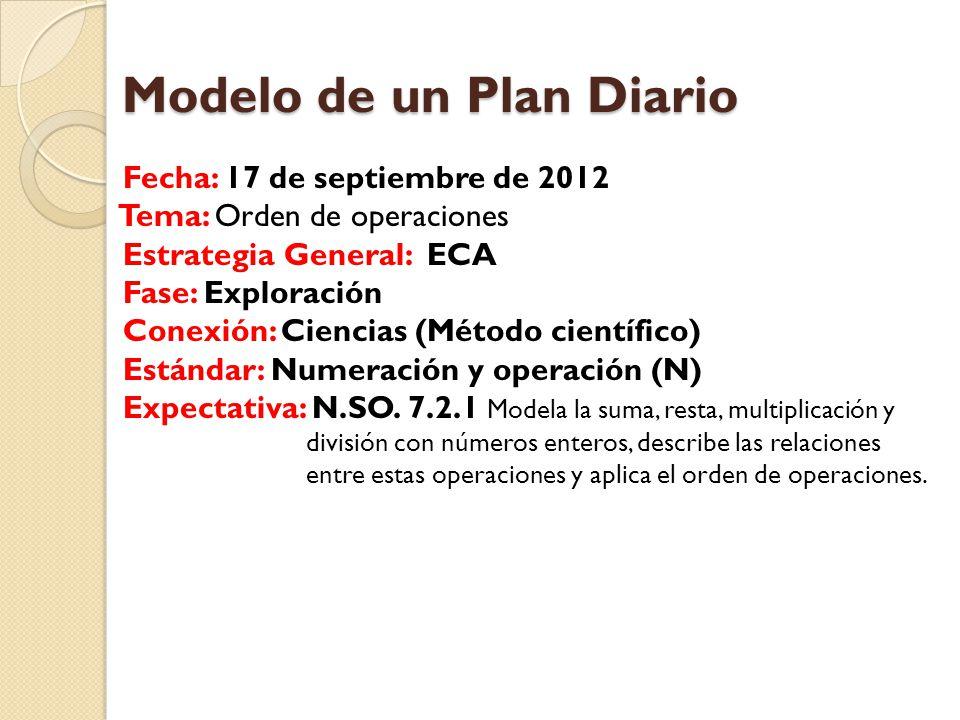 Modelo de un Plan Diario