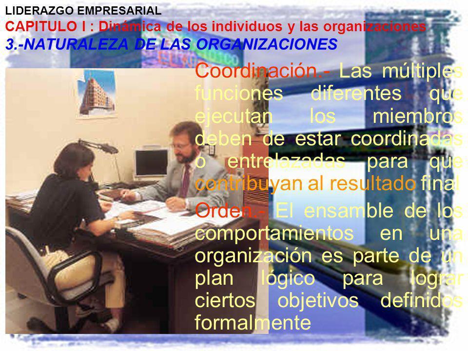 LIDERAZGO EMPRESARIAL CAPITULO I : Dinámica de los individuos y las organizaciones 3.-NATURALEZA DE LAS ORGANIZACIONES