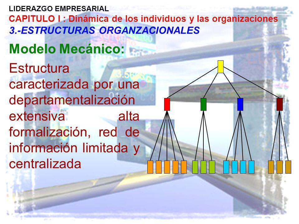 LIDERAZGO EMPRESARIAL CAPITULO I : Dinámica de los individuos y las organizaciones 3.-ESTRUCTURAS ORGANZACIONALES