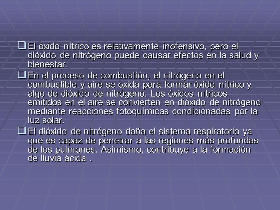 El óxido nítrico es relativamente inofensivo, pero el dióxido de nitrógeno puede causar efectos en la salud y bienestar.