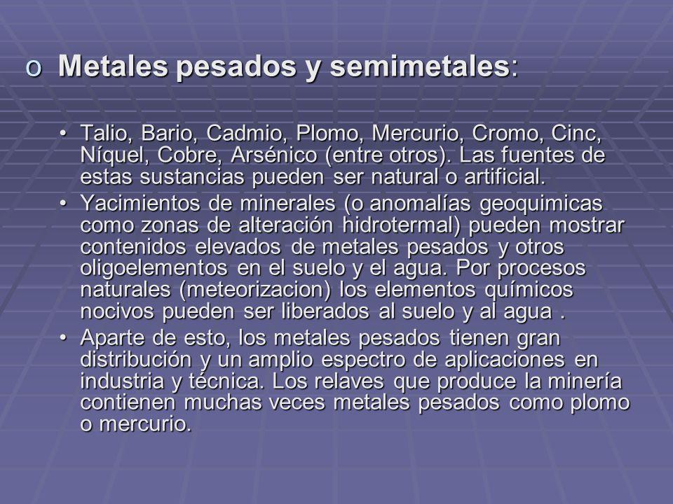 Metales pesados y semimetales: