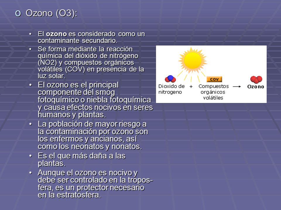 Ozono (O3): El ozono es considerado como un contaminante secundario.