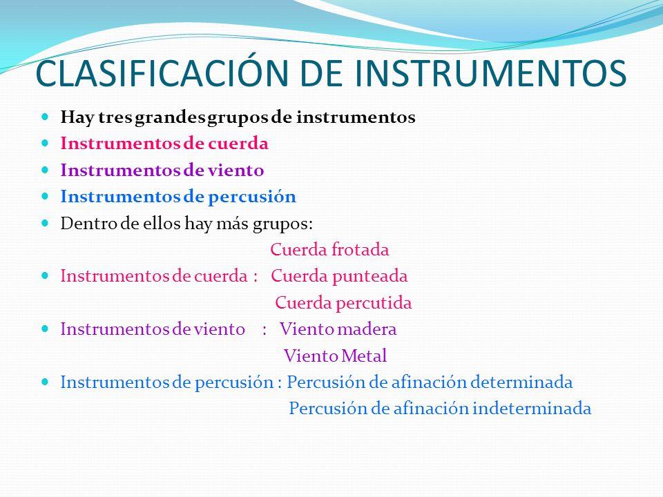 CLASIFICACIÓN DE INSTRUMENTOS