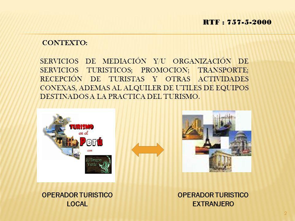 OPERADOR TURISTICO LOCAL OPERADOR TURISTICO EXTRANJERO