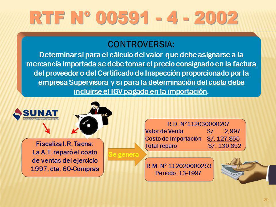 La A.T. reparó el costo de ventas del ejercicio 1997, cta. 60-Compras