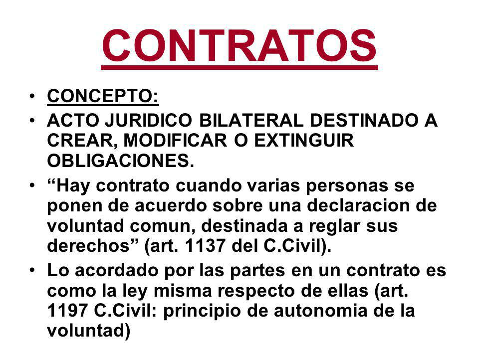 CONTRATOS CONCEPTO: ACTO JURIDICO BILATERAL DESTINADO A CREAR, MODIFICAR O EXTINGUIR OBLIGACIONES.