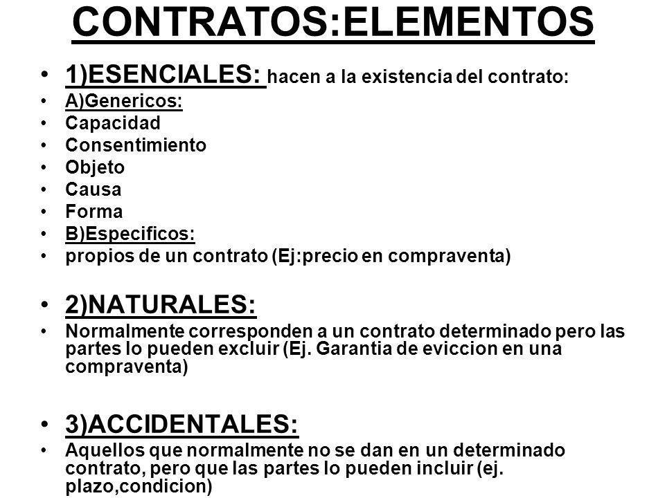 CONTRATOS:ELEMENTOS 1)ESENCIALES: hacen a la existencia del contrato: