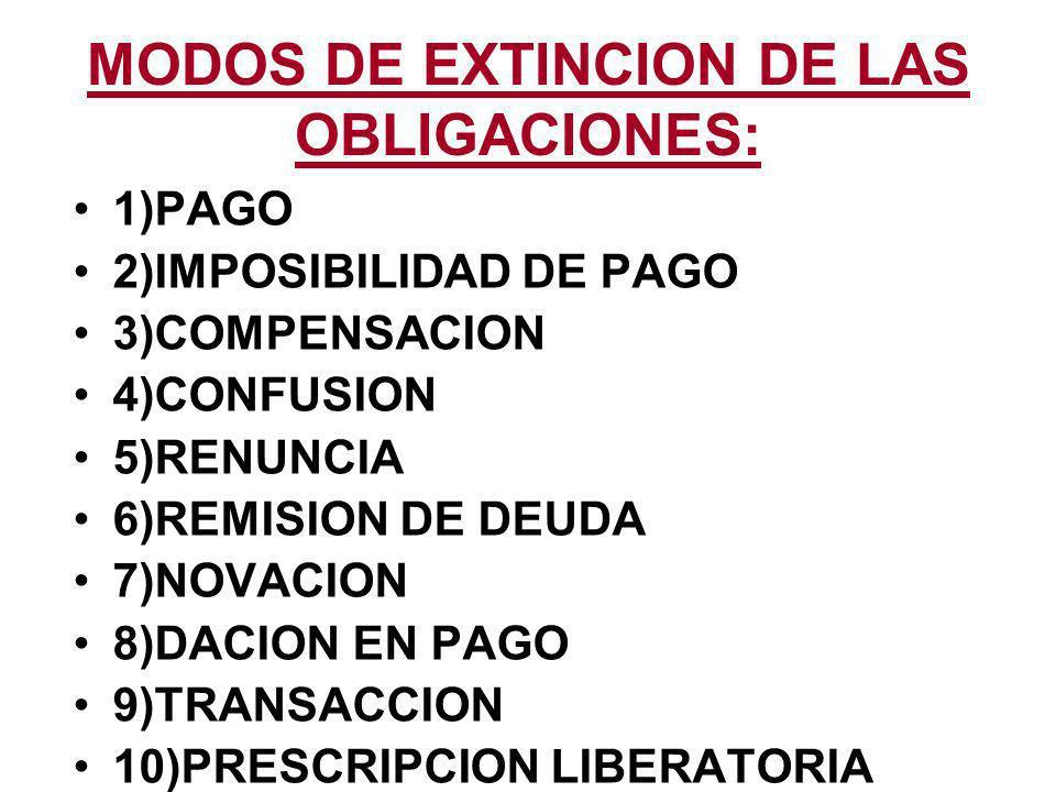 MODOS DE EXTINCION DE LAS OBLIGACIONES: