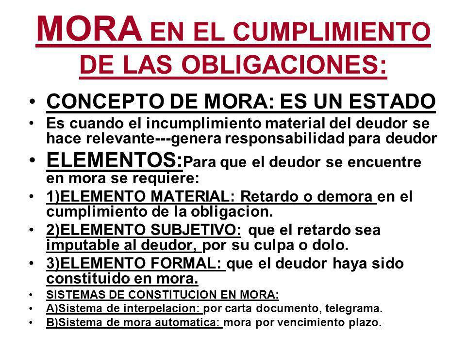 MORA EN EL CUMPLIMIENTO DE LAS OBLIGACIONES: