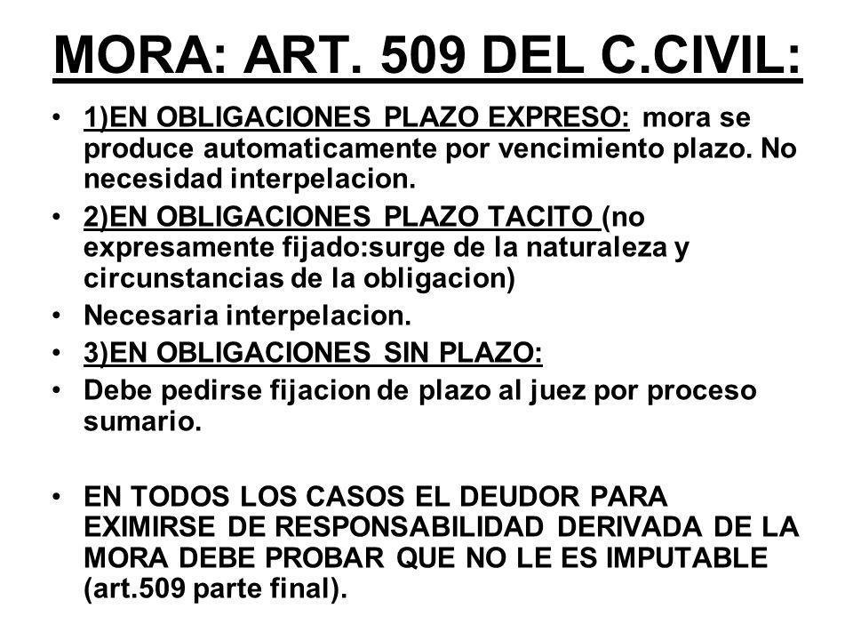 MORA: ART. 509 DEL C.CIVIL: 1)EN OBLIGACIONES PLAZO EXPRESO: mora se produce automaticamente por vencimiento plazo. No necesidad interpelacion.