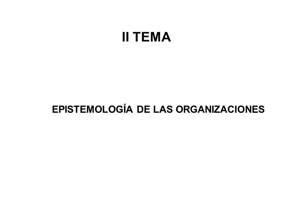 EPISTEMOLOGÍA DE LAS ORGANIZACIONES
