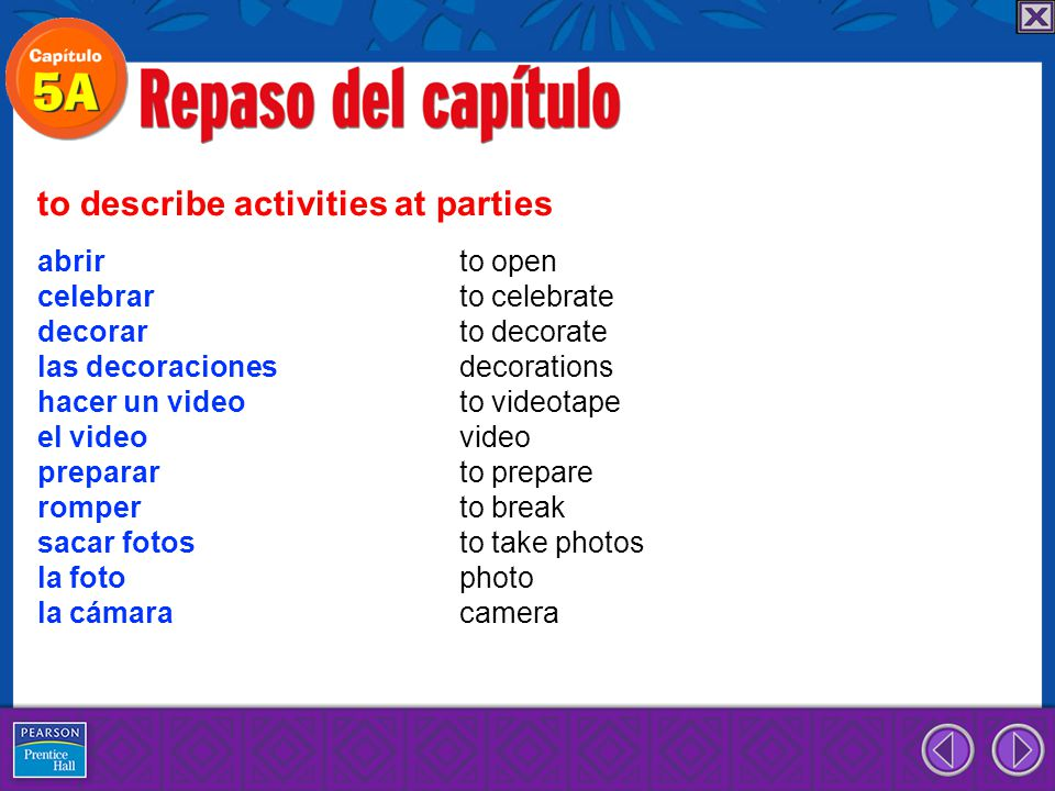 to describe activities at parties