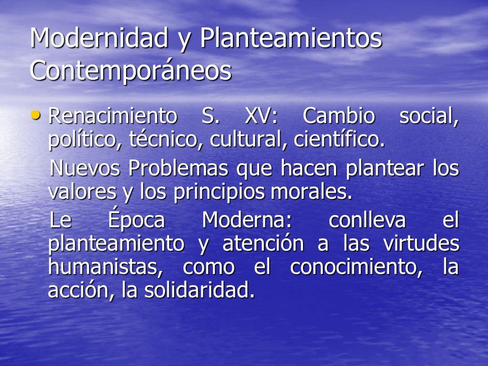Modernidad y Planteamientos Contemporáneos