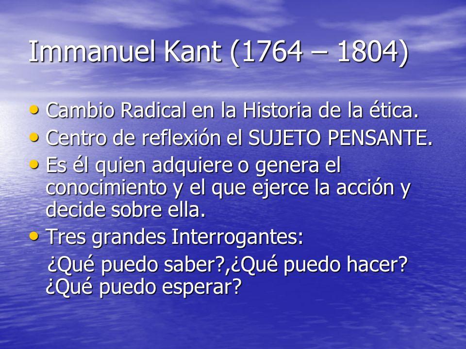 Immanuel Kant (1764 – 1804) Cambio Radical en la Historia de la ética.
