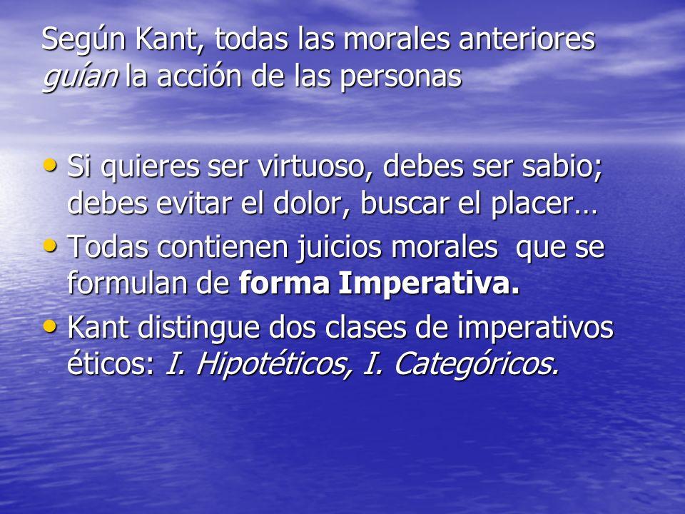 Según Kant, todas las morales anteriores guían la acción de las personas