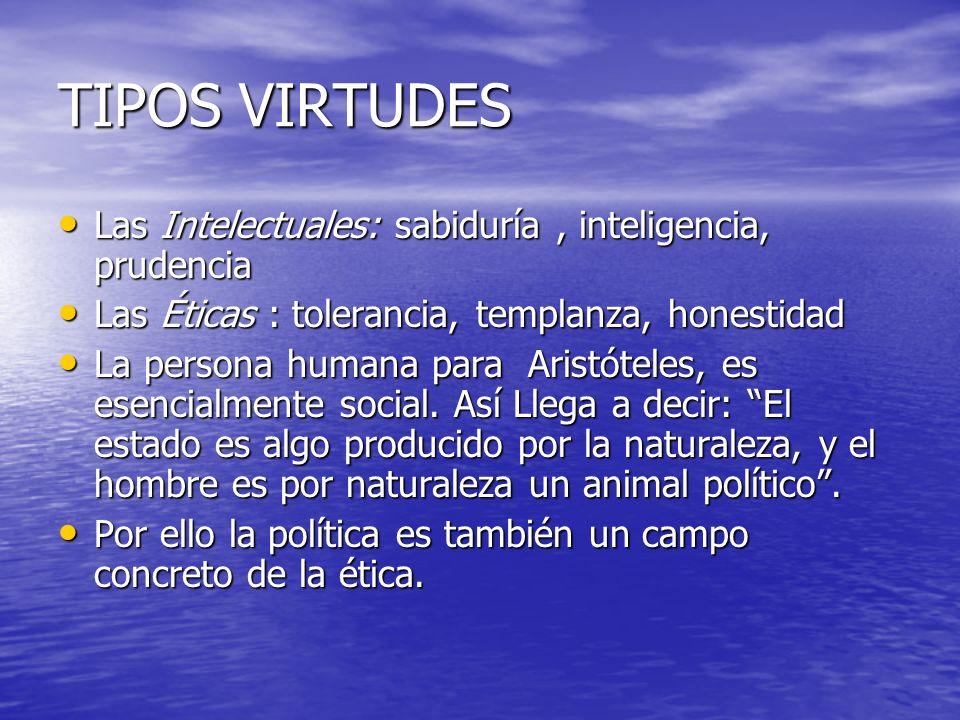 TIPOS VIRTUDES Las Intelectuales: sabiduría , inteligencia, prudencia