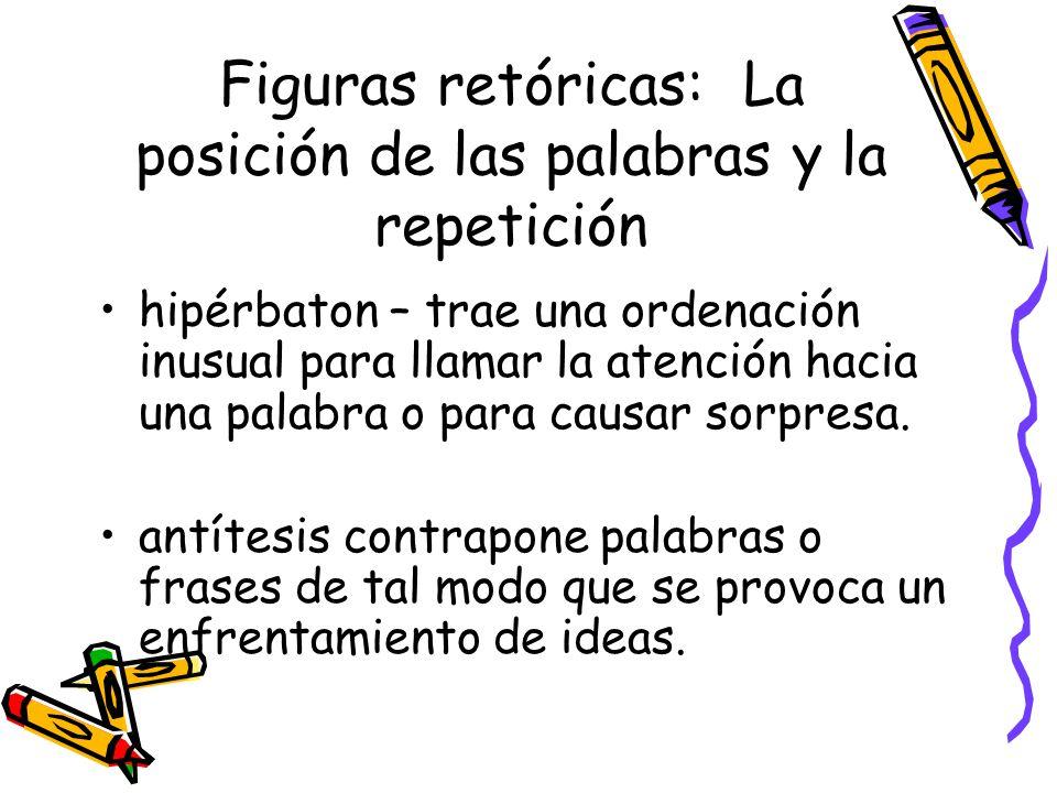 Figuras retóricas: La posición de las palabras y la repetición