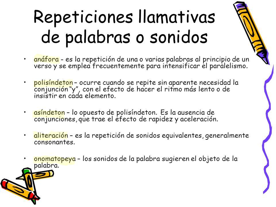 Repeticiones llamativas de palabras o sonidos