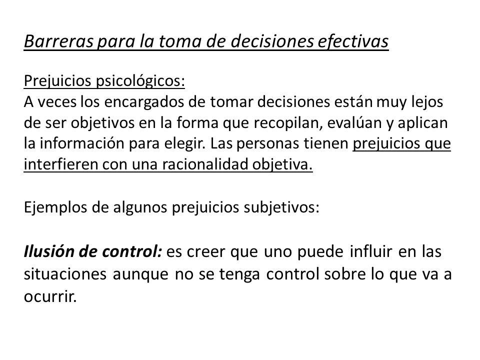 Barreras para la toma de decisiones efectivas
