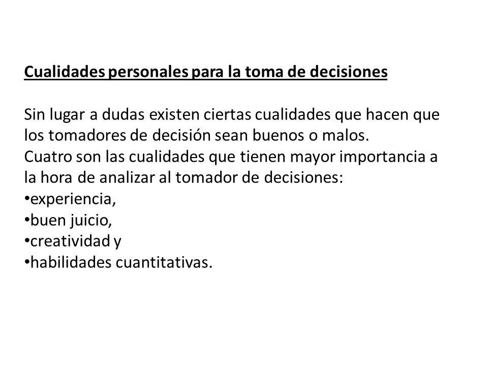 Cualidades personales para la toma de decisiones