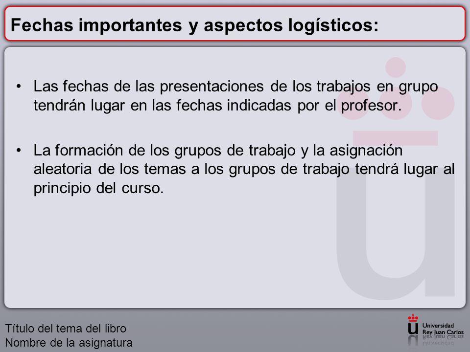 Fechas importantes y aspectos logísticos:
