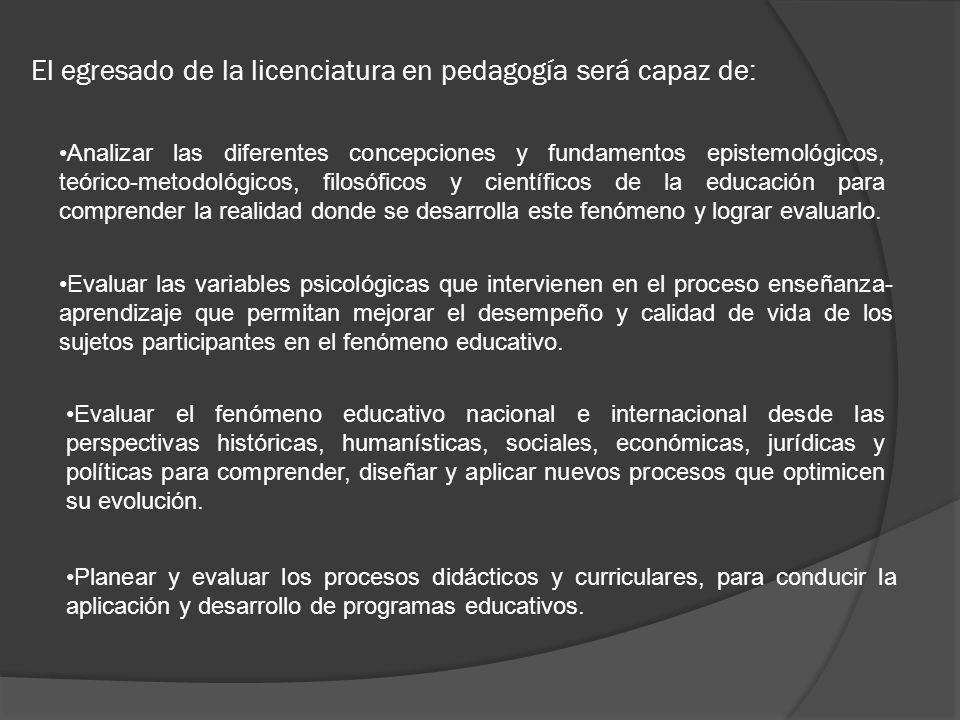 El egresado de la licenciatura en pedagogía será capaz de: