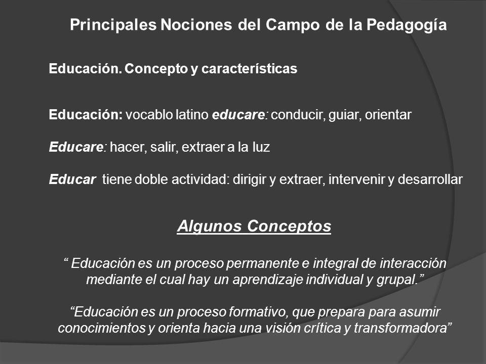 Principales Nociones del Campo de la Pedagogía
