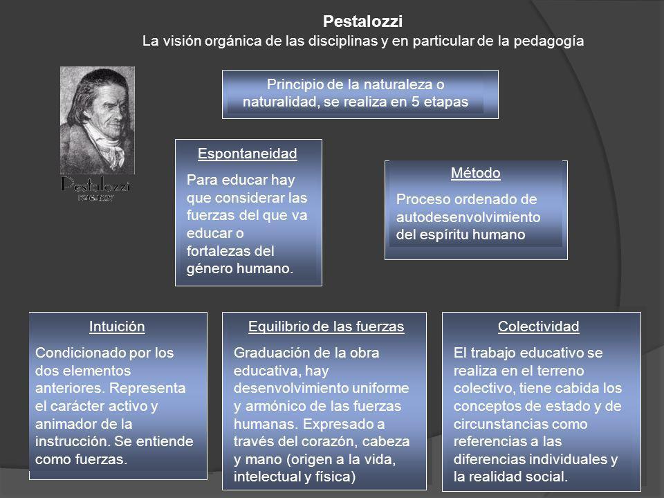 Pestalozzi La visión orgánica de las disciplinas y en particular de la pedagogía. Principio de la naturaleza o naturalidad, se realiza en 5 etapas.
