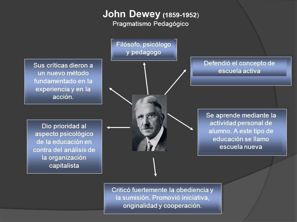 John Dewey (1859-1952) Pragmatismo Pedagógico