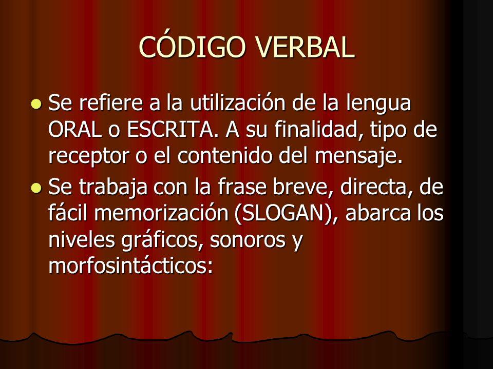 CÓDIGO VERBALSe refiere a la utilización de la lengua ORAL o ESCRITA. A su finalidad, tipo de receptor o el contenido del mensaje.