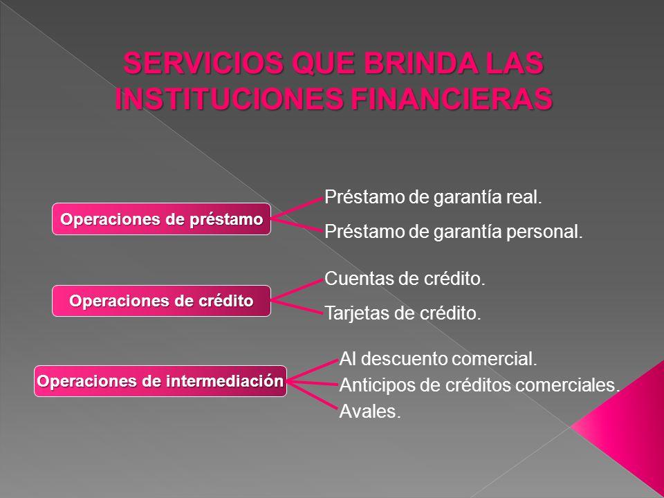 SERVICIOS QUE BRINDA LAS INSTITUCIONES FINANCIERAS
