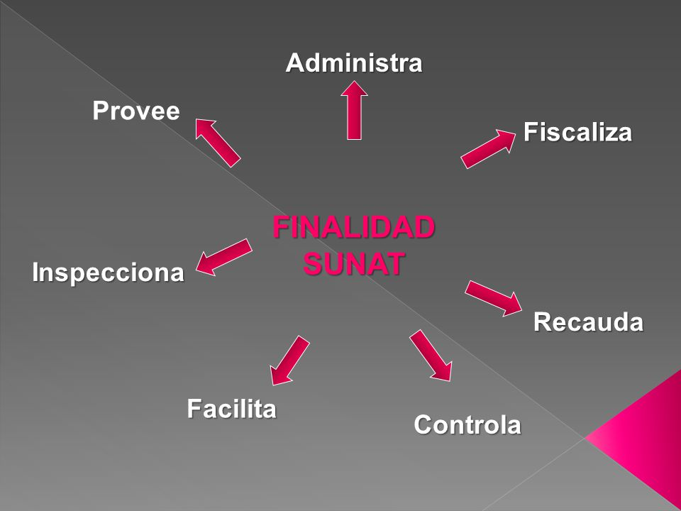 FINALIDAD SUNAT Administra Provee Fiscaliza Inspecciona Recauda