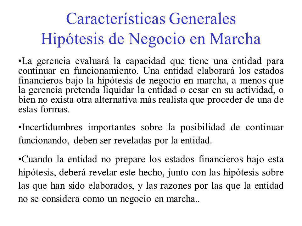 Características Generales Hipótesis de Negocio en Marcha