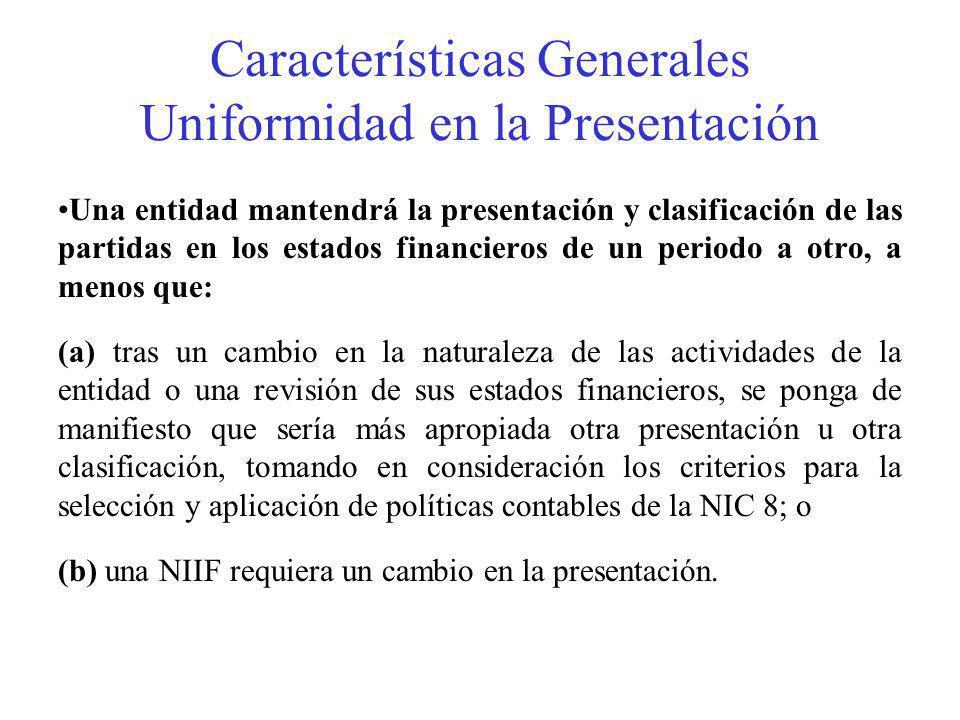 Características Generales Uniformidad en la Presentación