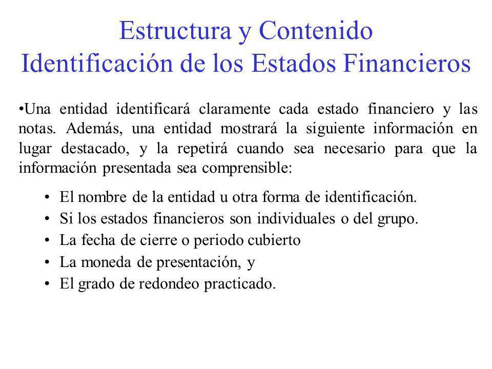 Estructura y Contenido Identificación de los Estados Financieros