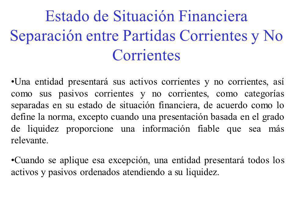 Estado de Situación Financiera Separación entre Partidas Corrientes y No Corrientes