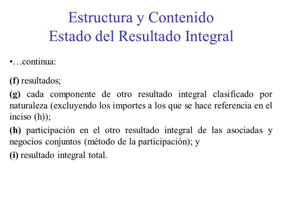 Estructura y Contenido Estado del Resultado Integral