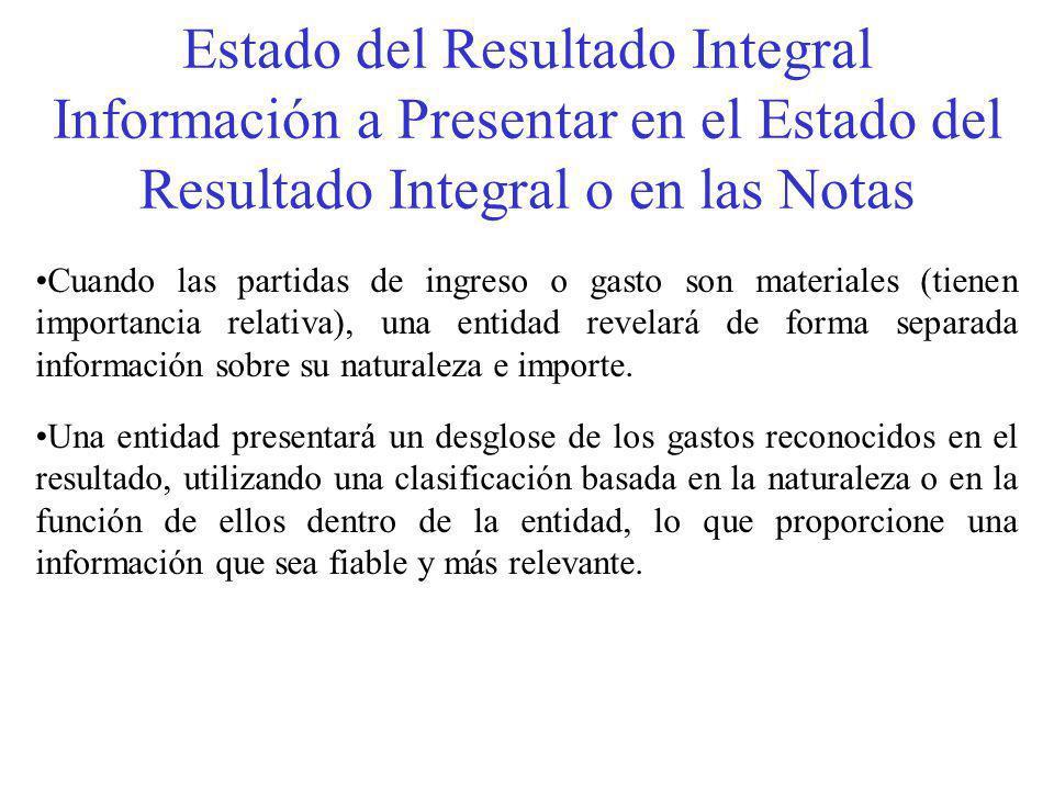Estado del Resultado Integral Información a Presentar en el Estado del Resultado Integral o en las Notas