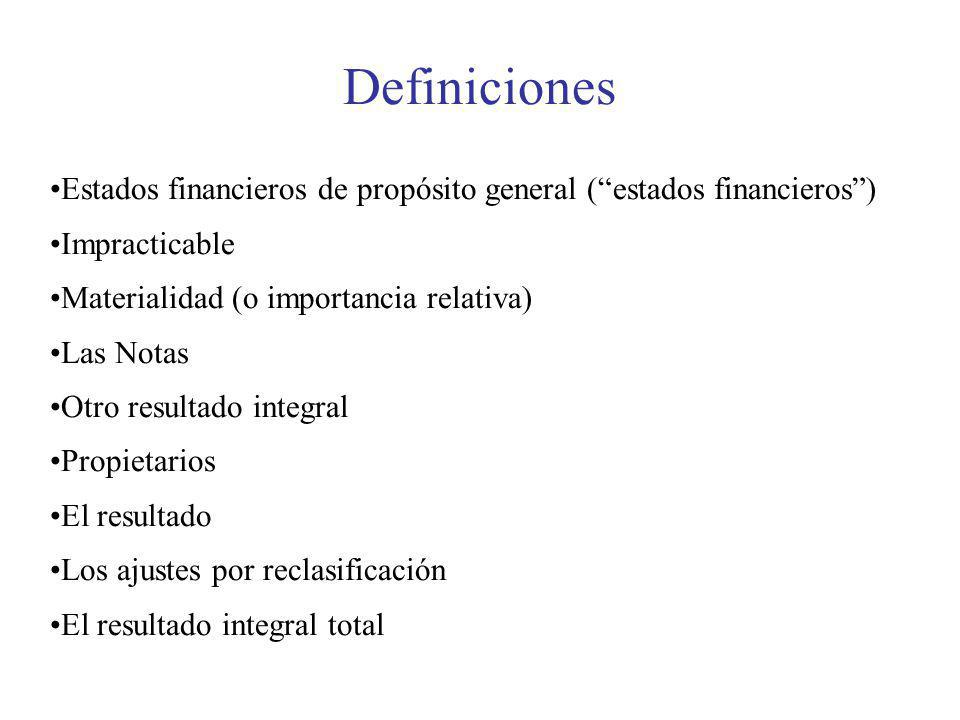 Definiciones Estados financieros de propósito general ( estados financieros ) Impracticable. Materialidad (o importancia relativa)