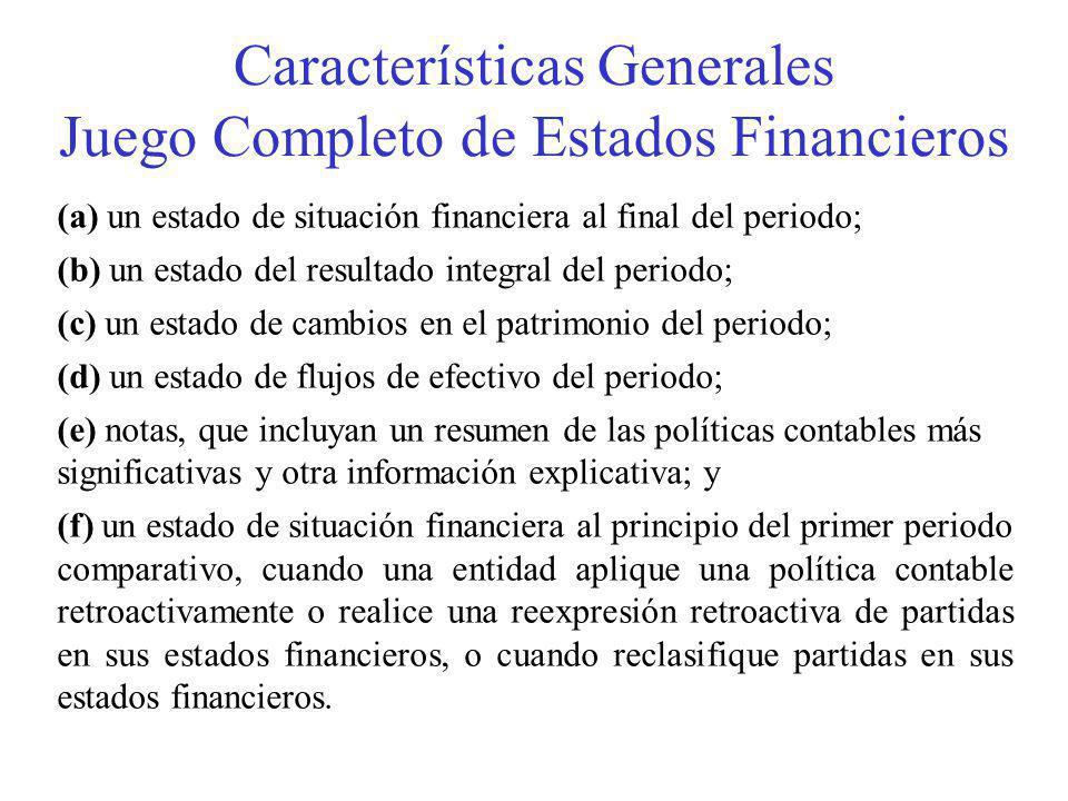 Características Generales Juego Completo de Estados Financieros