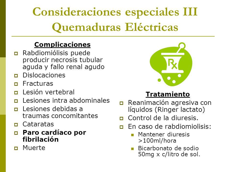 Consideraciones especiales III Quemaduras Eléctricas