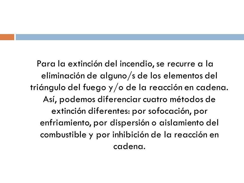 Para la extinción del incendio, se recurre a la eliminación de alguno/s de los elementos del triángulo del fuego y/o de la reacción en cadena.
