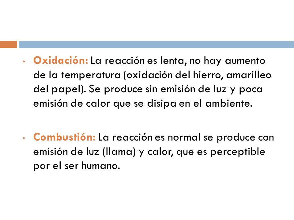 Oxidación: La reacción es lenta, no hay aumento de la temperatura (oxidación del hierro, amarilleo del papel). Se produce sin emisión de luz y poca emisión de calor que se disipa en el ambiente.