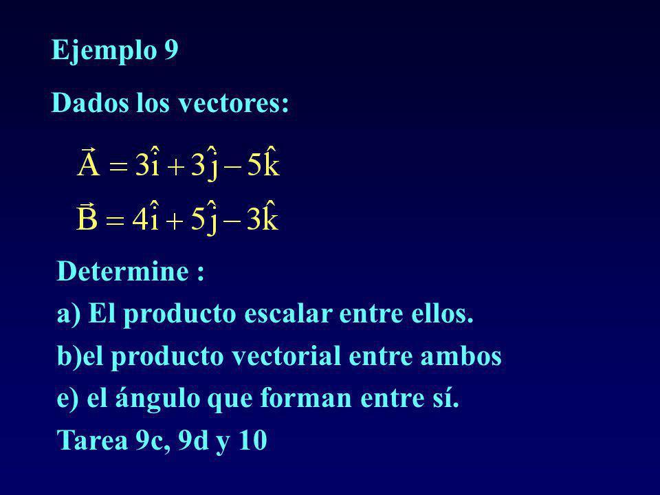 Ejemplo 9 Dados los vectores: Determine : a) El producto escalar entre ellos. b)el producto vectorial entre ambos.