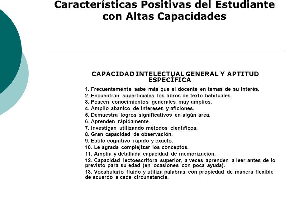 Características Positivas del Estudiante con Altas Capacidades