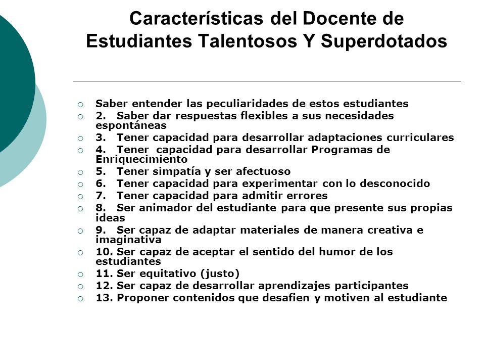 Características del Docente de Estudiantes Talentosos Y Superdotados