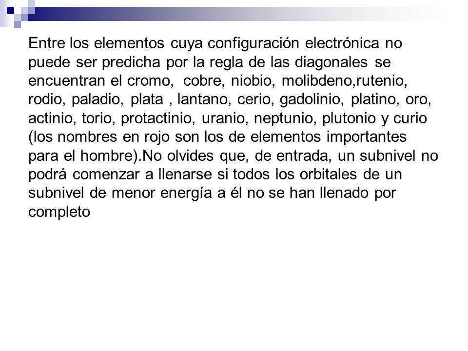 Entre los elementos cuya configuración electrónica no puede ser predicha por la regla de las diagonales se encuentran el cromo, cobre, niobio, molibdeno,rutenio, rodio, paladio, plata , lantano, cerio, gadolinio, platino, oro, actinio, torio, protactinio, uranio, neptunio, plutonio y curio (los nombres en rojo son los de elementos importantes para el hombre).No olvides que, de entrada, un subnivel no podrá comenzar a llenarse si todos los orbitales de un subnivel de menor energía a él no se han llenado por completo