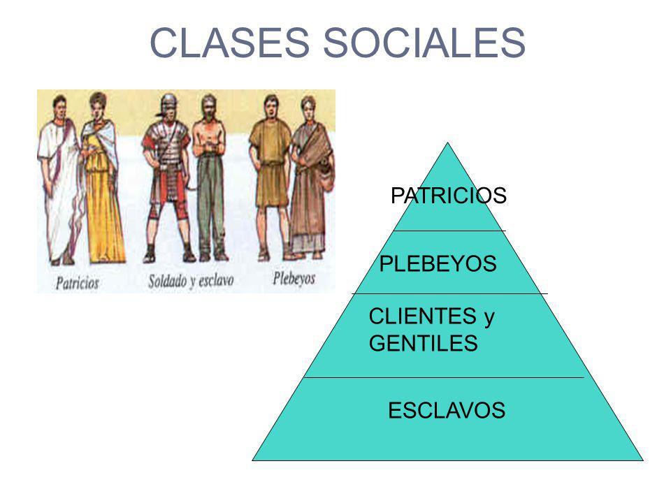CLASES SOCIALES PATRICIOS PLEBEYOS CLIENTES y GENTILES ESCLAVOS
